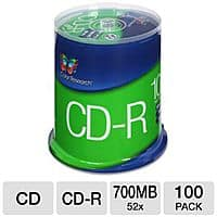 TigerDirect Deal: 100-Pack Color Research Spindle of 52X 700 MB CD-R Blank Media