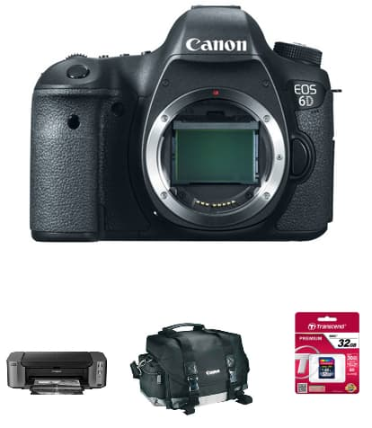 Canon EOS 6D DSLR (Body Only) + Pro-10 Printer + Goodies  $1249 after $350 rebate + Free Shipping or w/ 24-105mm Lens $1649