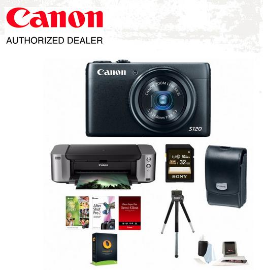 Canon PowerShot S120 12.1 MP Digital Camera + Canon PIXMA PRO-100 Photo Printer + Deluxe Accessory Kit $265.88 AR + Free Shipping!