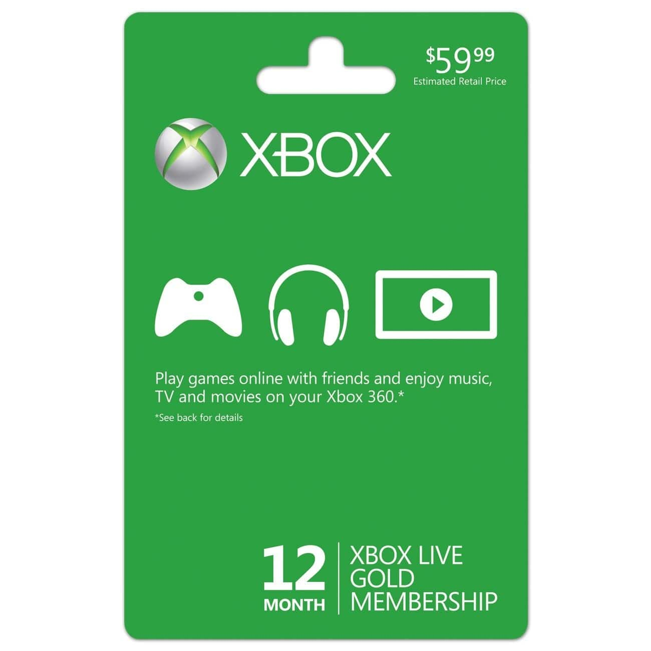 12-Month Xbox Live Gold Membership (Email Delivery) $29.99