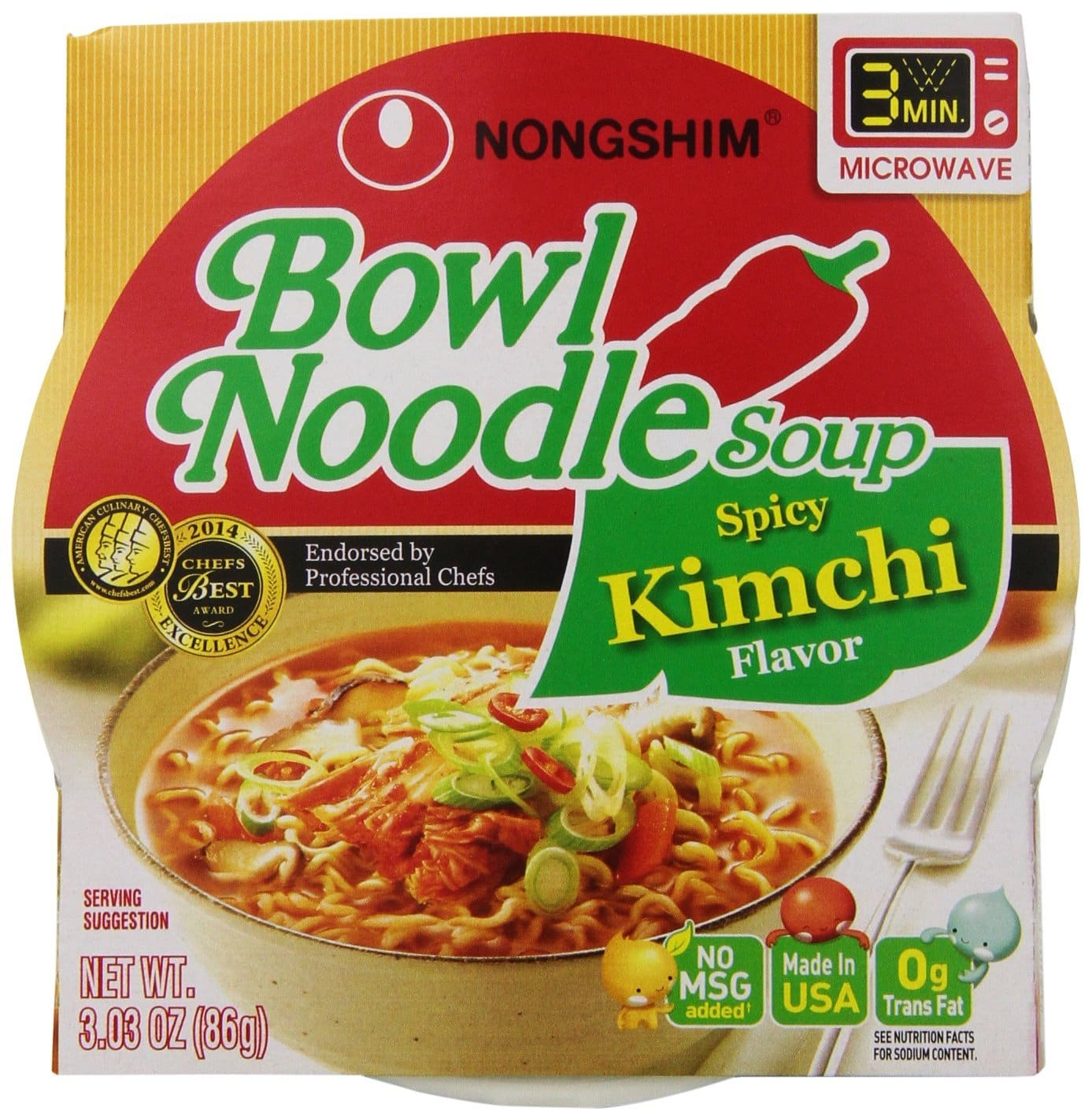 12-Pack of 3.03oz Nongshim Spicy Kimchi Noodle Soup Bowl  $11 + Free Shipping