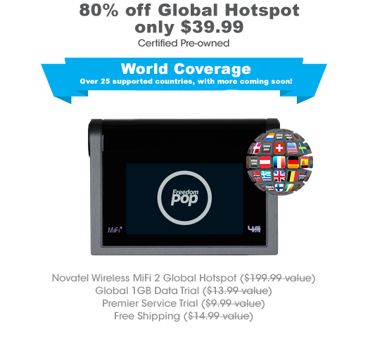 FreedomPop Novatel Wireless MiFi 2 Global Hotspot (Certified Pre-Owned)  $40 + Free Shipping