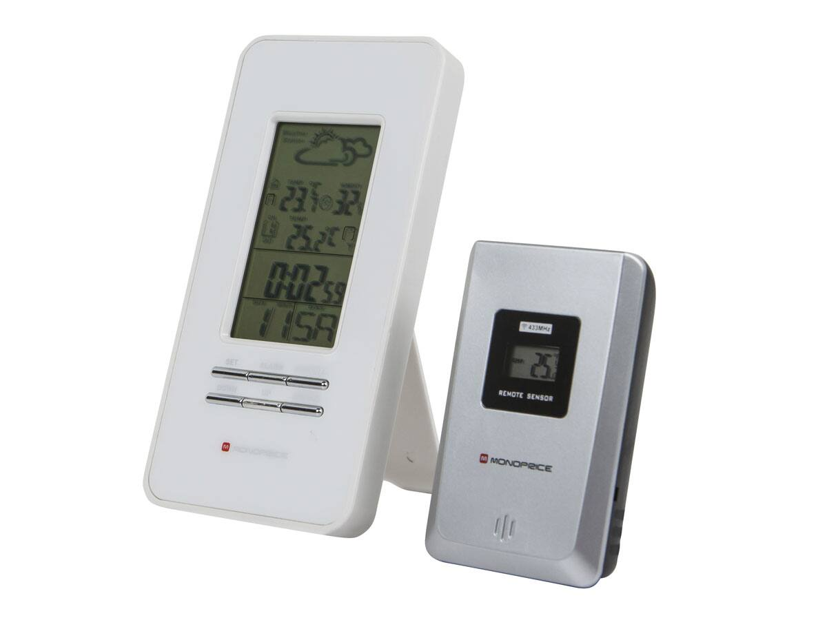 Monoprice Wireless Multi-zone Weather Station/ Alarm Clock with Outdoor Sensor (White) - $9.99 + Free Shipping