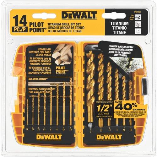 DEWALT DW1354 14-Piece Titanium Drill Bit Set $12.99 + Free Prime Shipping @ Amazon