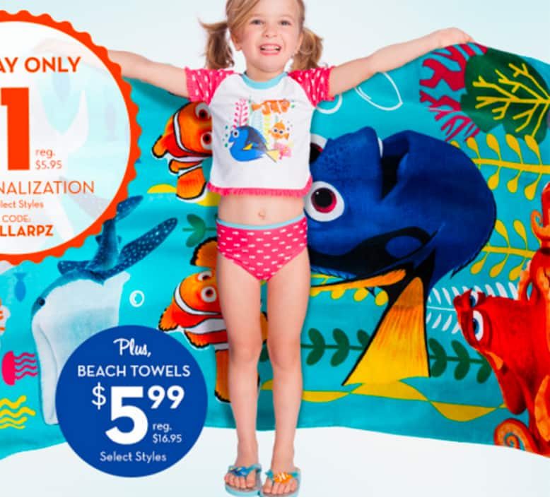 Select Personalized Disney Beach Towels $6.99 Each + $5.95 SH or Free Shipping on $75+