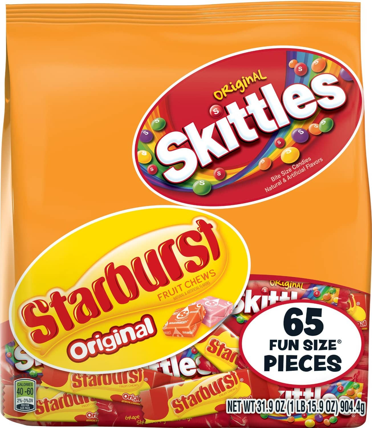 Skittles and Starburst Original Halloween Candy Bag, 65 Fun Size Pieces $5.68 or less