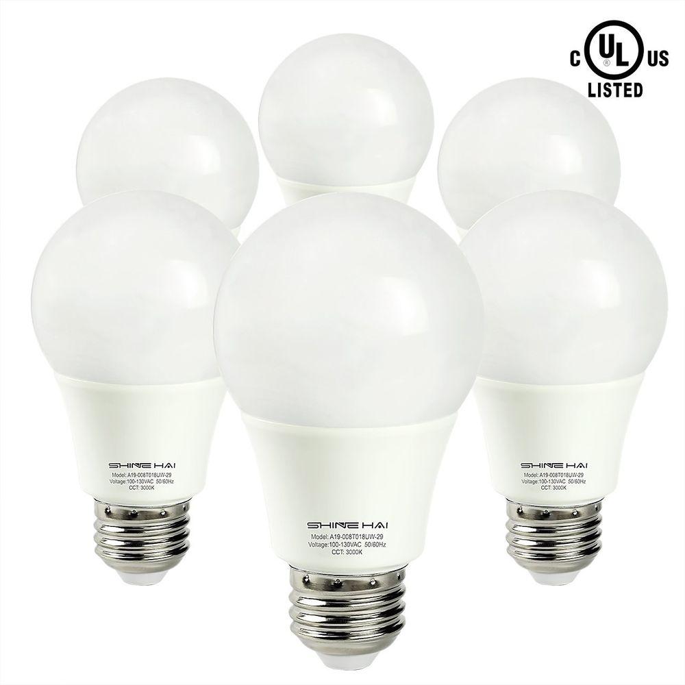 6-Pack Shine Hai UL A19 3000K LED Bulbs (60w equivalent)  $10 + Free Shipping