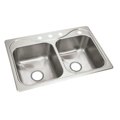 Southhaven X Self-Rimming Stainless Steel 33 in. 4-Hole Double Bowl Kitchen Sink $99 + Free Shipping @ Home Depot