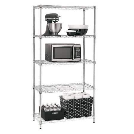 "Room Essentials 72"" Adjustable 5-Tier Wire Shelving Unit (Black or Chrome) $34.99 + Free Store Pickup"