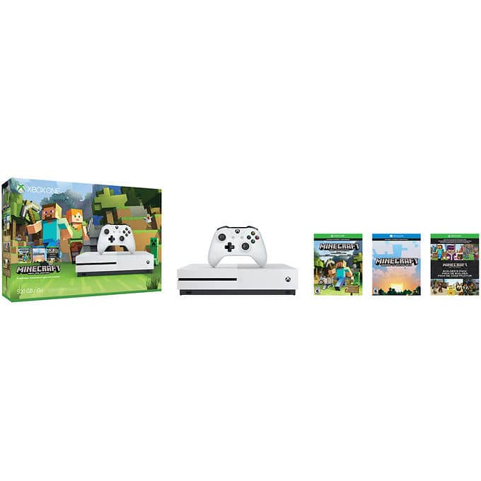 500GB Xbox One S Minecraft Console Bundle + $51 Off Extra Game  $308 or Less