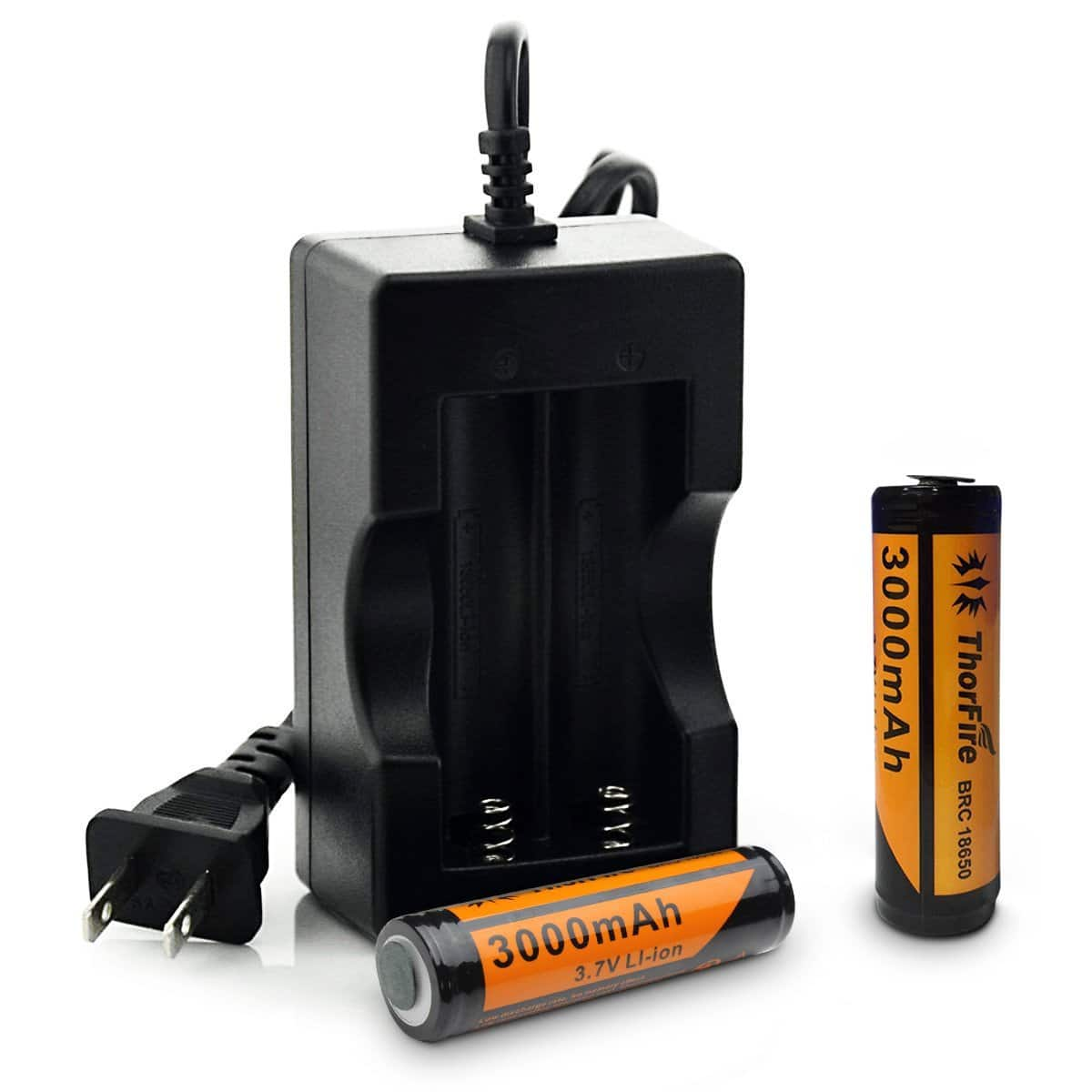 2-Pack ThorFire 18650 3.7V Li-ion Batteries & Charger - $9.99 and Free Shipping via Amazon Prime