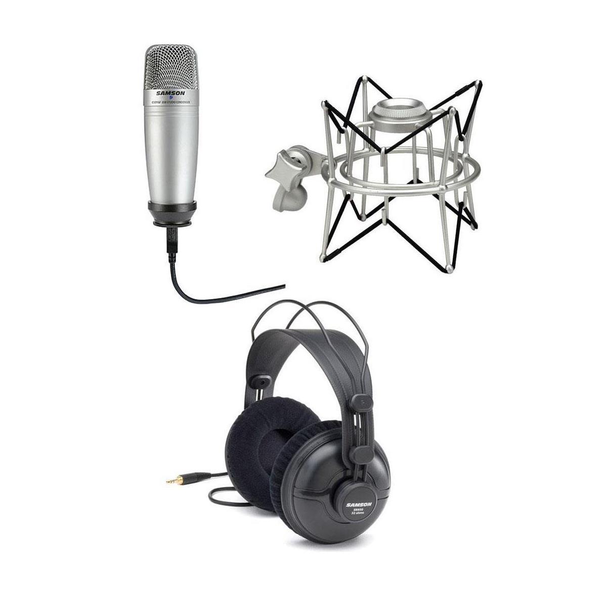 Samson SR950 Headphones + USB Condenser Microphone + Shock Mount