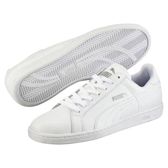 bbdf92b1b31 Puma Men s Smash Leather Classic Sneakers (White) - Slickdeals.net