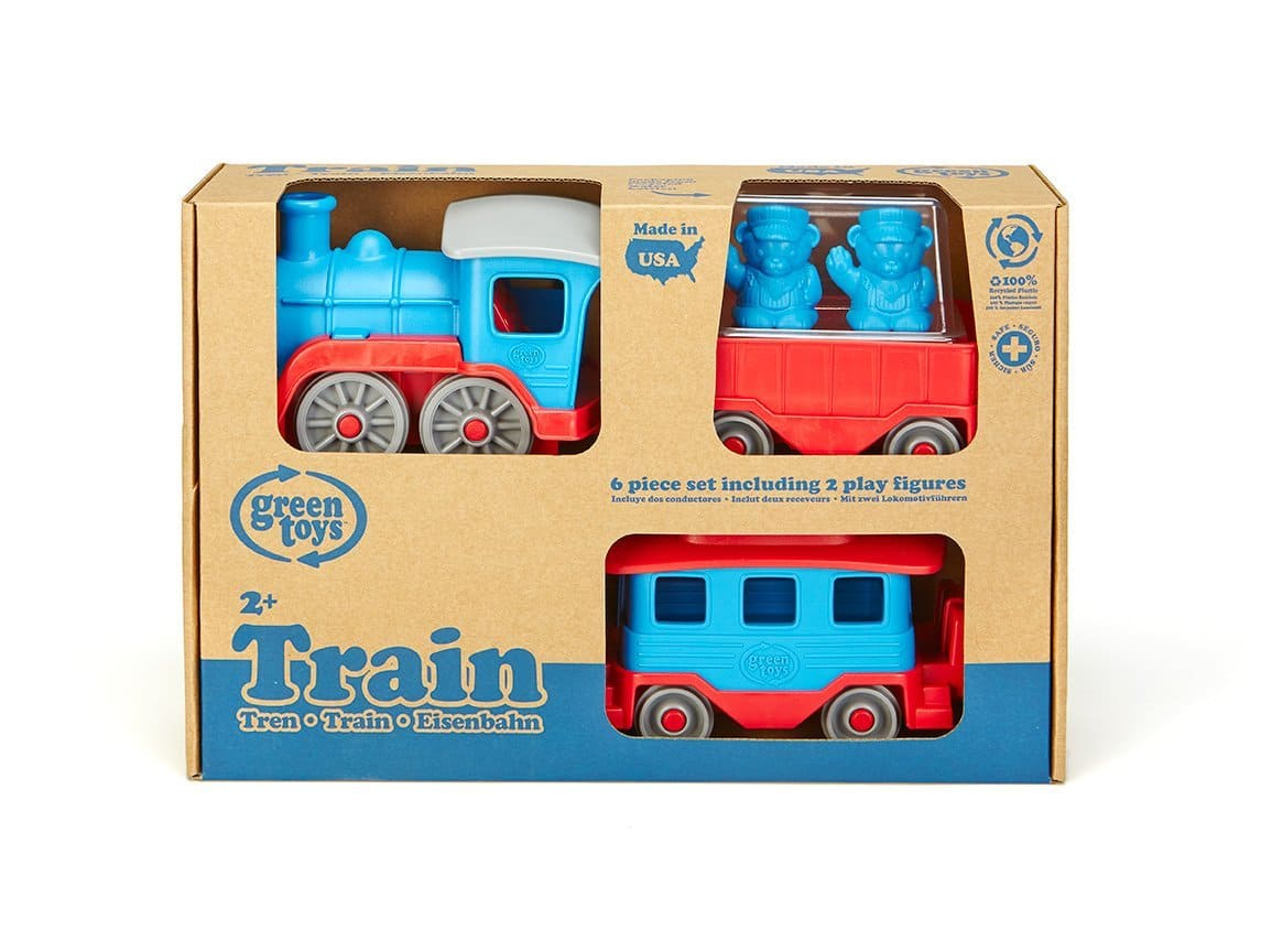 Amazon: Green Toys Train Set (Blue/Red) $10.96