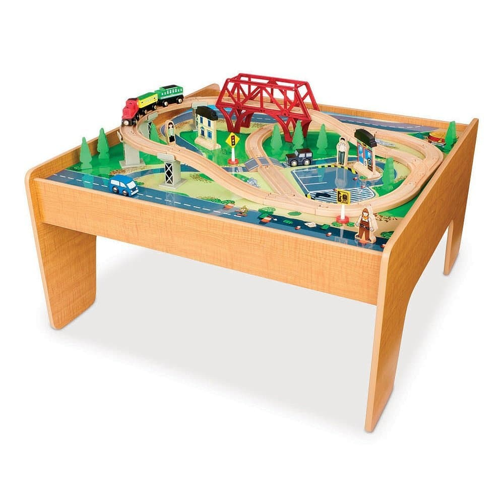 55 piece imaginarium all in one wooden train table for Wood table instructions