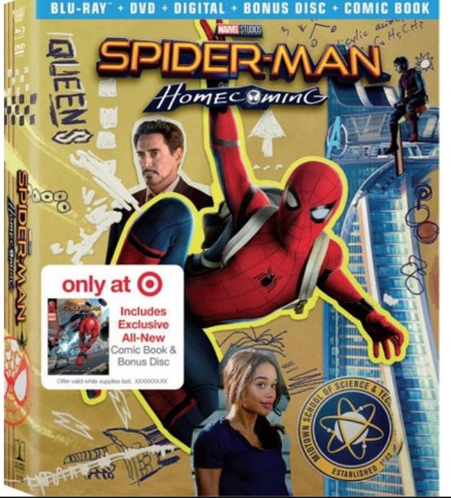 Spider-Man Homecoming Target Exclusive: Comic Book & Bonus Content (Blu-ray + DVD + Digital HD) $10 @ Target (3/18 – 3/24) YMMV