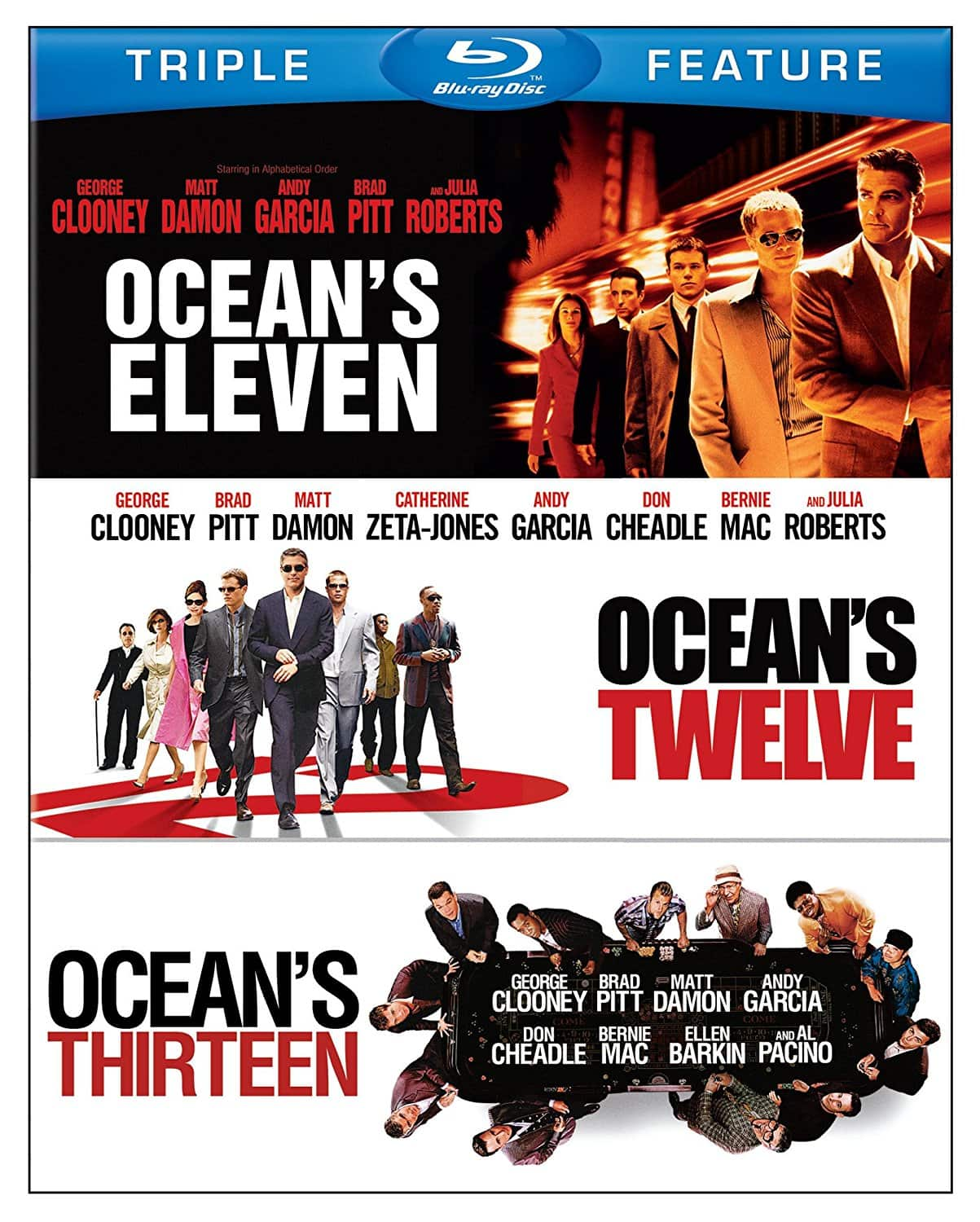 Ocean's Triple Feature: Eleven/Twelve/Thirteen (Blu-ray) $10 + Free Store Pickup @ Target