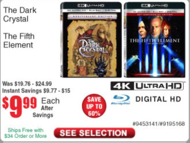 The Dark Crystal (4K UHD + Blu-ray + Digital HD) or The Fifth Element (4K UHD + Blu-ray + Digital HD) $9.99 Each + Free Store Pickup @ Fry's