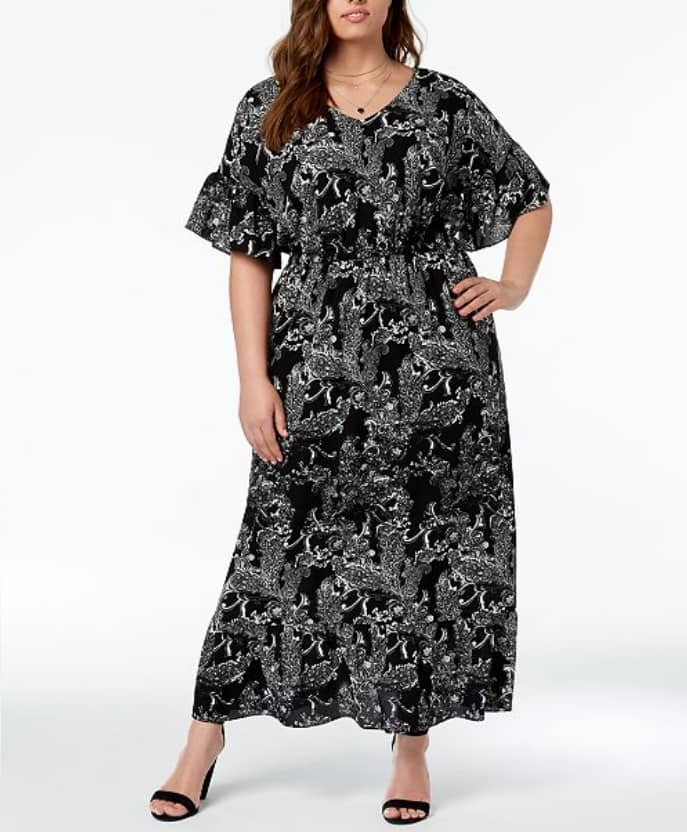Plus Size Dresses Ny Collection Printed Dolman Sleeve Maxi Dress