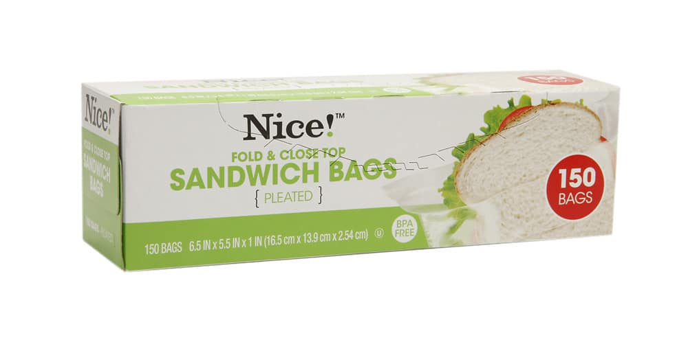 150-Ct Nice! Fold & Close Sandwich Bags or 25-Ct Nice! Resealable Storage Bags Quart $0.99 Each & More + Free Store Pickup @ Walgreens