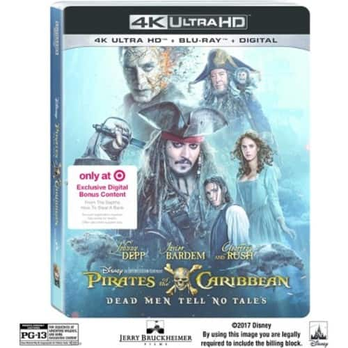Target REDcard Holders: Pirates Of The Caribbean: Dead Men Tell No Tales Target Exclusive (4K UHD + Blu-ray + Digital HD) $11.39 + Free Shipping