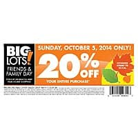 Big Lots Deal: Big Lots - Friends & Family Event on Sunday, October 5th (20% off) B&M