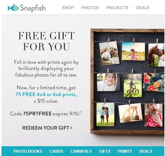 Snapfish: 75 FREE 4x4 or 4x6 Prints + $6.99 shipping