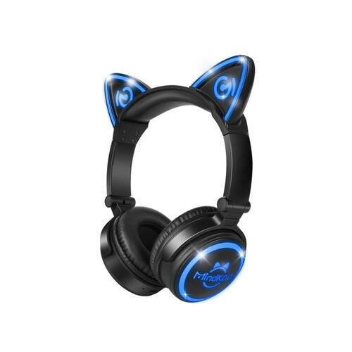 Unicat MH-6 Kids Headphones,Cat Ear Bluetooth V4.2 Headsets On-Ear Earphones wtih Mic,(Patented Exclusive Design) Foldable Gaming Headsets - Black - $23.39 AC