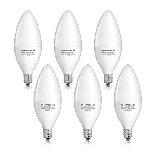 SHINE HAI E12 Candelabra LED Bulbs 6-Pack $6.99 or 12-Pack $13.99 @ Amazon