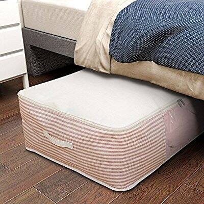 100L Large Capacity Underbed Storage Bag with Clear Window for Comforters, Blanket, Duvet, Clothing Pink - $12.59 AC
