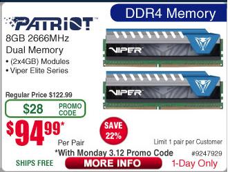 Frys - Patriot Viper Elite Series DDR4 8GB (2x4GB) 2666MHz Kit - Blue - $94.99 AC