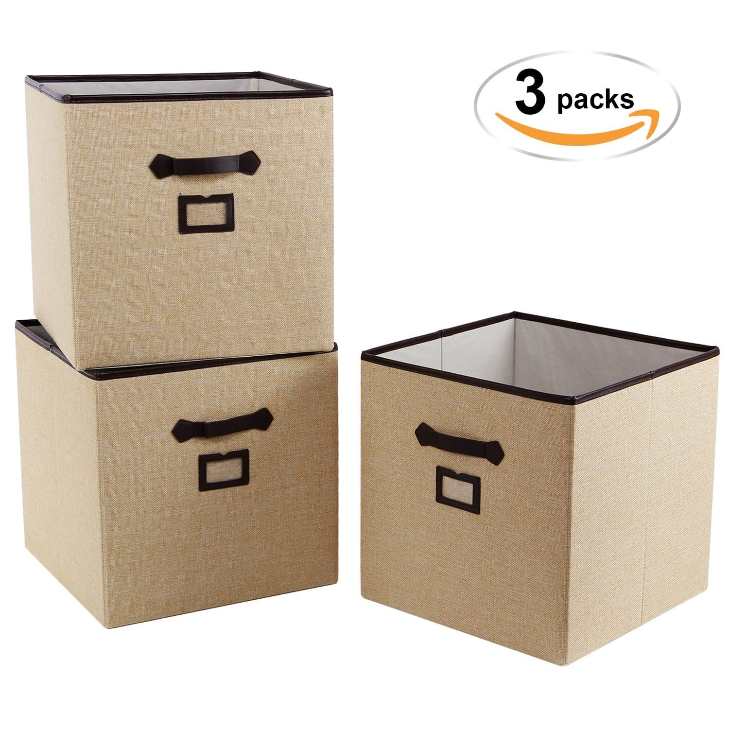 Polyester 13u201d Cube Storage Bins With Label Holder Foldable Storage Baskets  Containers For Shelves,