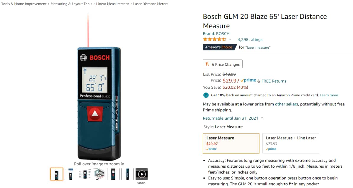 Amazon - Bosch GLM 20 Blaze 65' Laser Distance Measure - $29.97