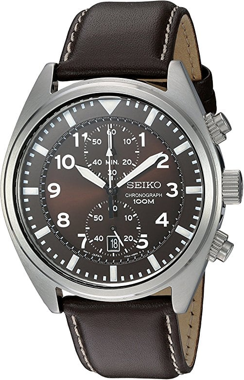 Seiko Men's SNN241 Stainless Steel Watch with Brown Leather Band $98.98