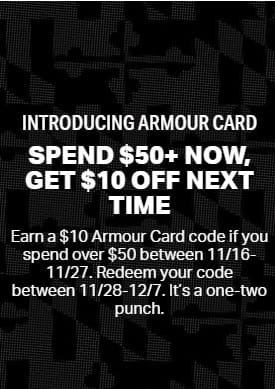 $10 Credit w/ Orders $50+ at Under Armour. Ends 11/27.