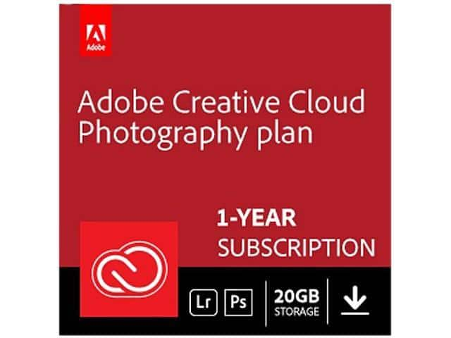 Adobe Creative Cloud Photography plan with 20GB storage - 1 Year Subscription (PC/MAC Digital) $89.88