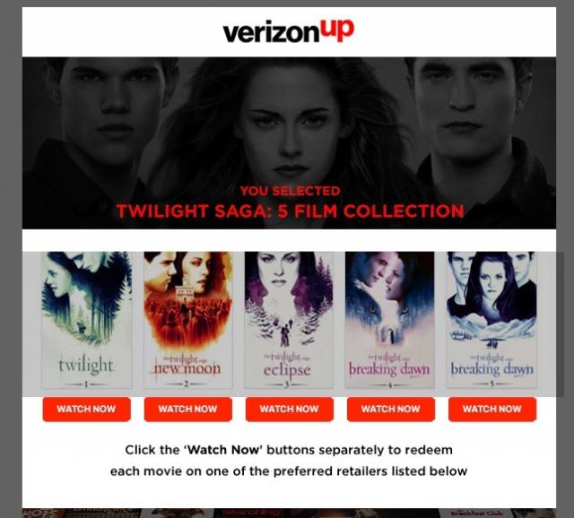 Twilight Saga (5 films) Free with Verizon Up credit (YMMV)