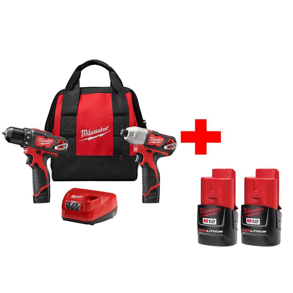 Milwaukee M12 12-Volt Lithium-Ion Cordless Drill Driver/Impact Driver Combo Kit (2-Tool) with Free M12 Compact Battery (2-Pack) $129