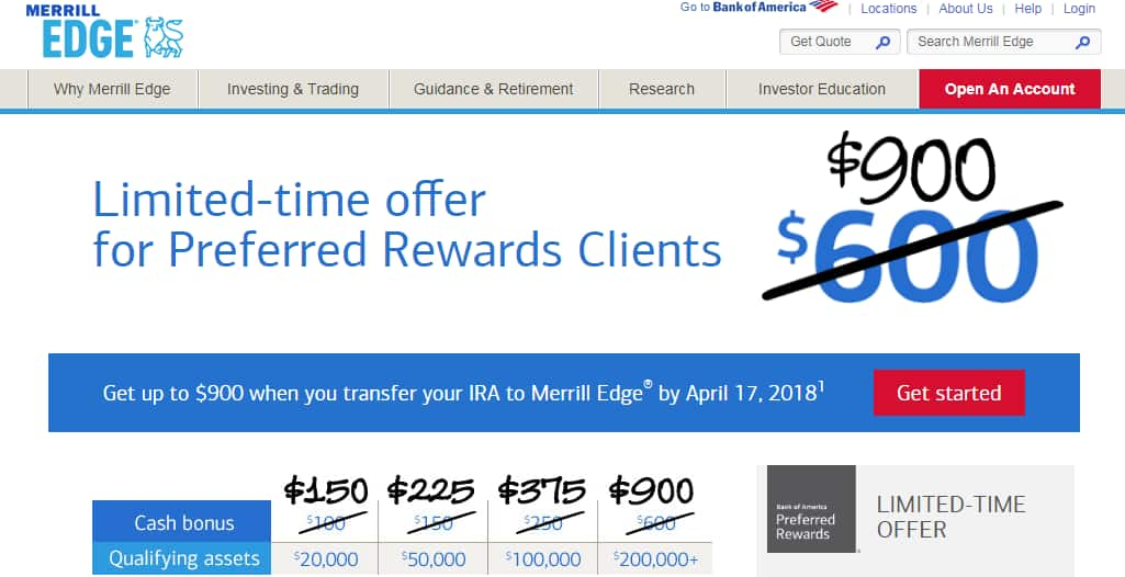 Bank of America Merrill Edge Up to $900 Bonus for Preferred Rewards Clients