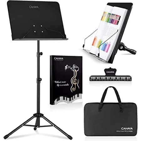 $16.79 for CAHAYA 2 in 1 Sheet Music Stand &Desktop Book Laptop Projector Stand  (Carrying Bag &Sheet Music Folder & Clip included)