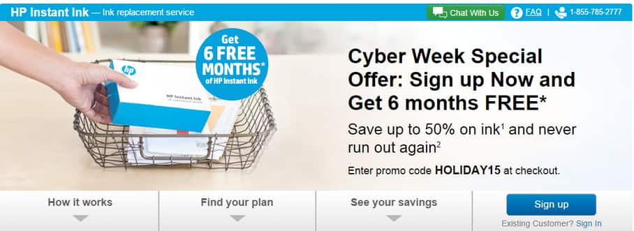 *SELECTED HP PRINTERS ONLY* Six Free months of Ink from HP