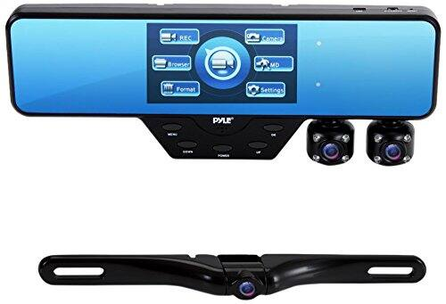 Pyle Newest Technology, Rearview Mirror, HD Dash Cam, Front & Rear Recording & Backup Camera, Video Recording System 3 cam Kit, Night Vision $83.99AC
