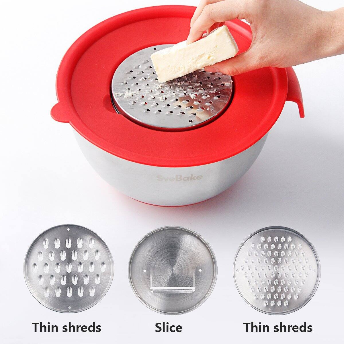3-sets Stainless Steel Mixing Bowl Set with Handles, Pour Spouts, Non-Slip Base and Graters $25.89 shipped from Amazon