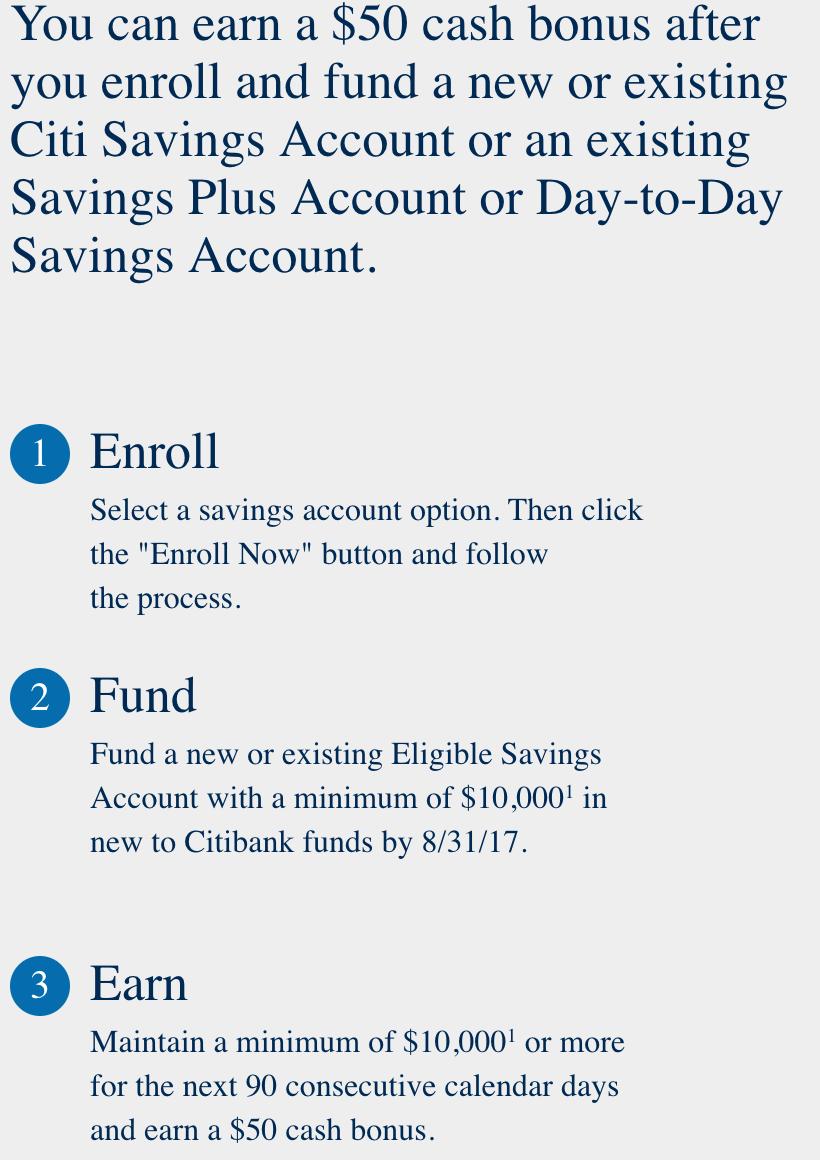 $50 bonus for depositing $10k to Citibank savings account