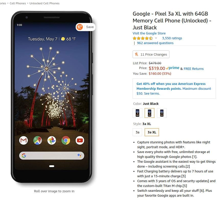 $319.00 - Google - Pixel 3a XL with 64GB Memory Cell Phone (Unlocked) - Just Black