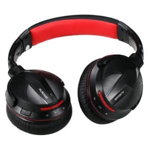 AUSDOM M04 NFC Wireless Bluetooth 4.0 Stereo Over-ear Wired + Wireless Headphones with Built-in Microphone, Black & Red $17.99