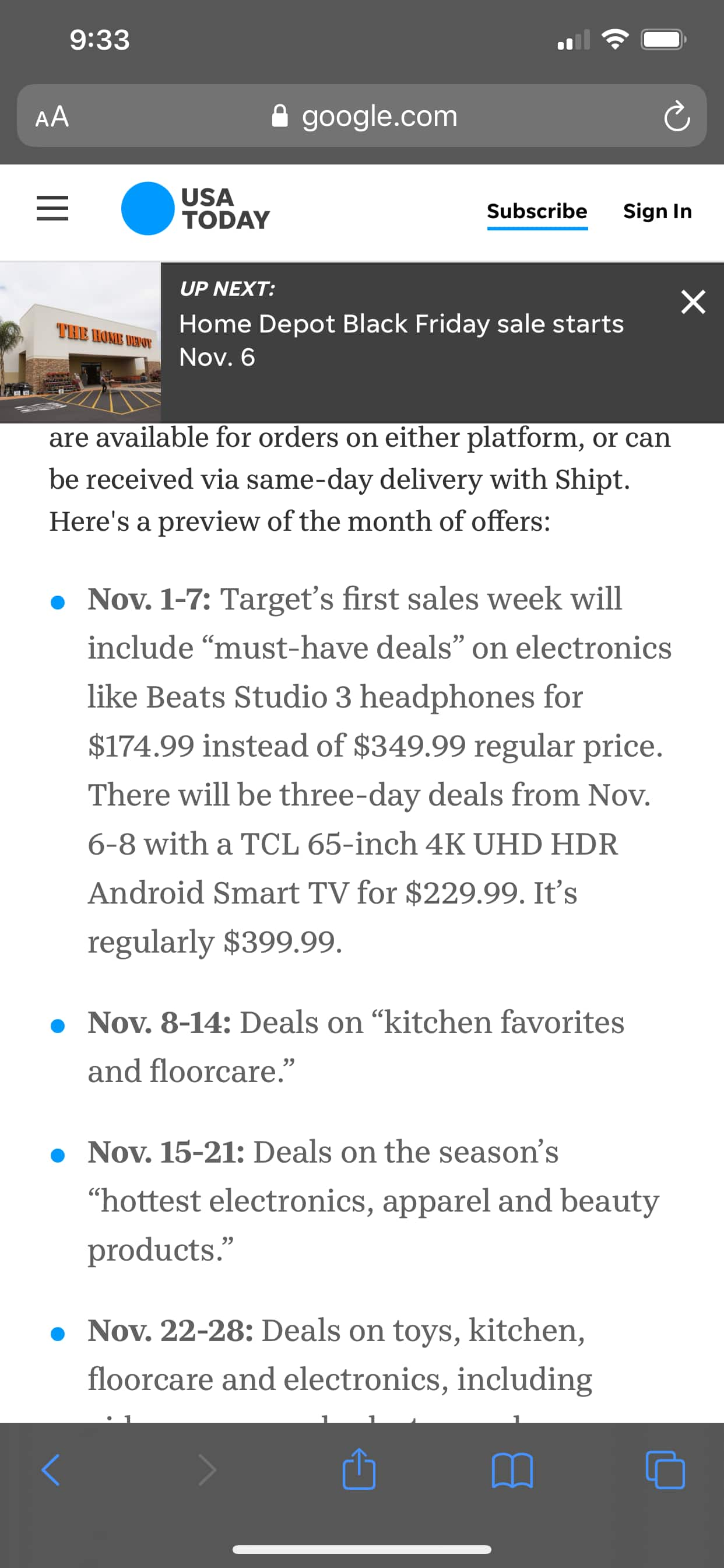 "65"" TCL 4k UHD Android TV in Target darting Nov 6"