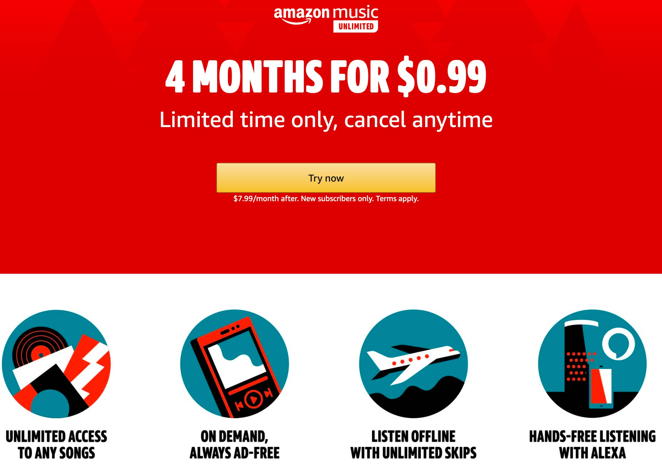 New Subscribers: 4 months of Amazon Music Unlimited $0.99