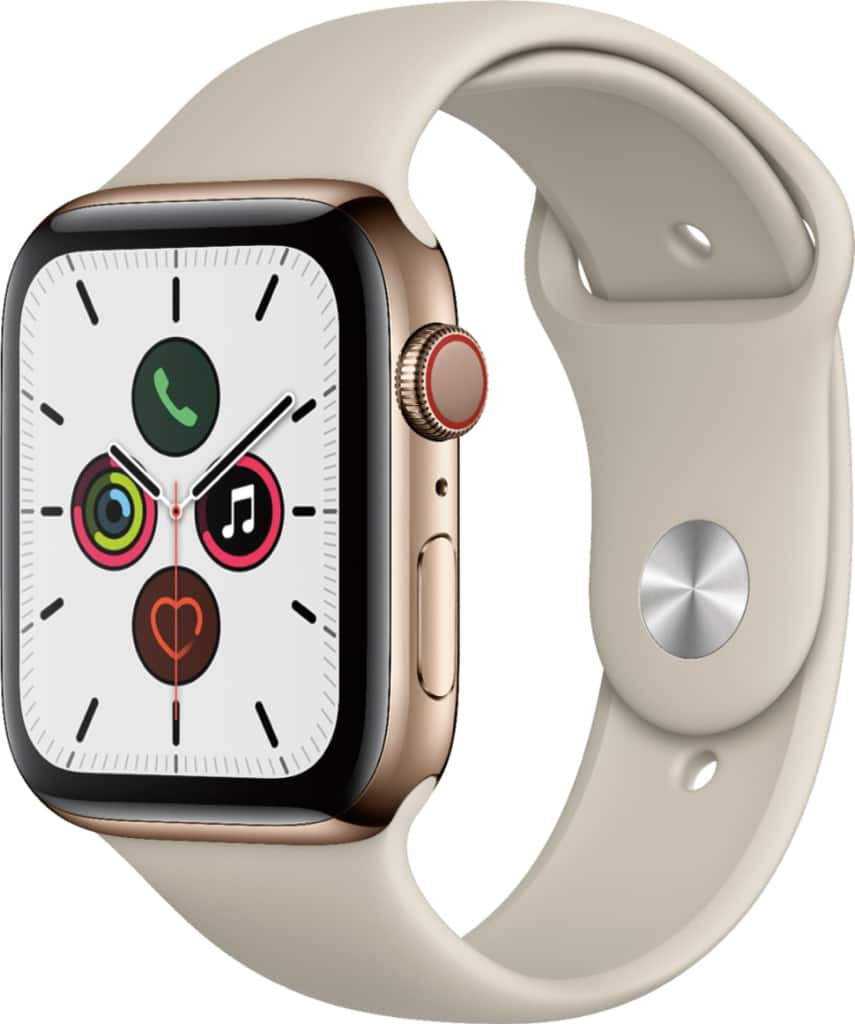Apple Watch Series 5 (GPS + Cellular) 44mm Gold Stainless Steel Case with Stone Sport Band Gold Stainless Steel MWW52LL/A - $449
