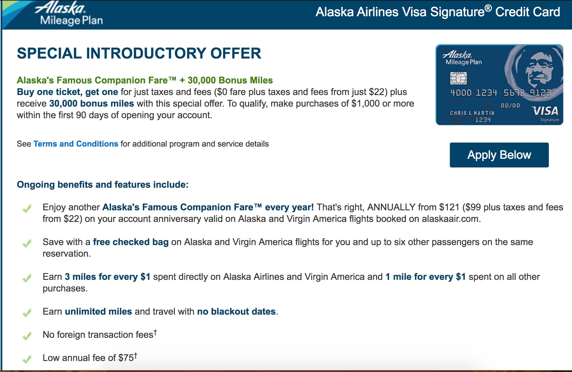 Alaska Airlines Visa Signature® Credit Card. BOGO Offer, 30K Miles plus Annual $99 Companion Pass